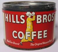 Tiny Old Vintage 1952 HILLS BROTHERS COFFEE GRAPHIC 1/2 POUND KEYWIND COFFEE TIN