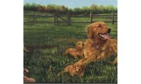 """Labrador and Puppies on a Farm Extra Large 13.5"""" Wallpaper Border HB2032B"""
