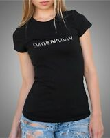 EMPORIO ARMANI New Black Ladies Slim fit T-shirt Size: S, M (FNZ51-women-Nero)