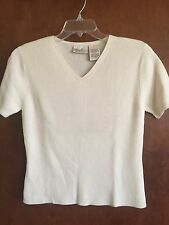Women's Kathie Lee Collection Small 4/6 Short Sleeve Cream V-Neck Sweater Top
