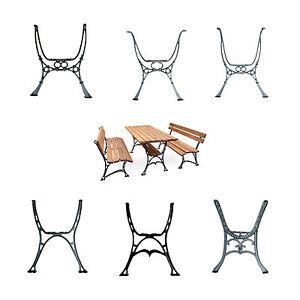 Pair Black Vintage Cast Iron Table Ends legs - Garden Park Patio Balcony Antique