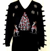 X-LARGE Top 3/4 Sleeve V-Neck Rhinestone Christmas Tree Reindeer Snowflakes