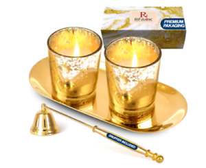 Gold Votive Candle Holders with metallic plate and candle snuffer for home décor