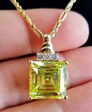 Square Step-cut Peridot Est.(12-14Ct) w/3 Diamond Accents in 10K Gold Pendant
