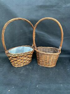Lovely Set Of 2 Dark Brown Baskets W Handles Perfect Condition Gifts Plants