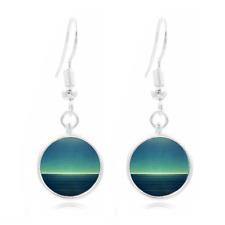 Calm Ocean Art Tibet Silver Dome Photo 16MM Glass Cabochon Long Earrings #68