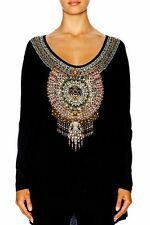 new CAMILLA FRANKS BLACK OVERSIZED LONG SLEEVE BLACK TEE TOP layby avail