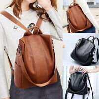 New Women's Leather Backpack Anti-Theft Rucksack School Shoulder Bag Black/Brown