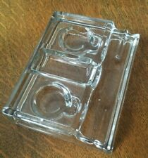 Vintage Clear Glass Double inkwell and Pen Holder Heavy, Exc Condition