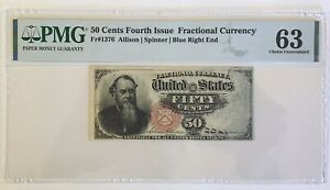 FRACTIONAL CURRENCY Fr-1376  50c  ALLISON/SPINNER PMG 63  CHOICE UNC  ON SALE!!