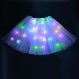 LIGHT UP LED TUTU Womens Girls Kids Stage Dance Skirt Dancewear Halloween NEW UK
