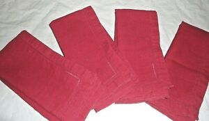 WILLIAMS SONOMA RED LINEN DOUBLE HEMSTITCHED (4) DINNER NAPKINS 21 X 20