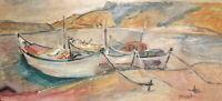Vintage fauvist oil painting river landscape boats signed