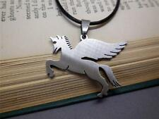 PENDANT NECKLACE; MEN'S; STAINLESS STEEL; PEGASUS; LEATHER NECKLACE - 5905
