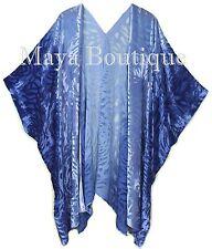 Niagara Blue Ombre Camellia Burnout Velvet Caftan Kimono Hand Dyed Maya Matazaro