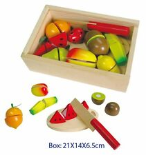 Wooden Play Food Cutting Fruit Box For Pretend Play Kitchen Velcro Pieces