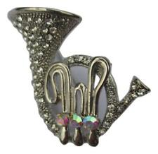 New On Card Tuba Musical Instrument Silver Coloured Crystal Embellished Brooch