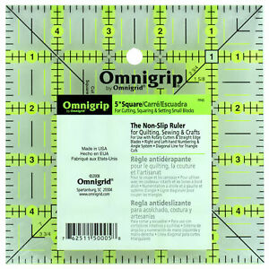 "Omnigrid Omnigrip 5"" Square Non-Slip Ruler Cutting Squaring Setting Small Blocks"
