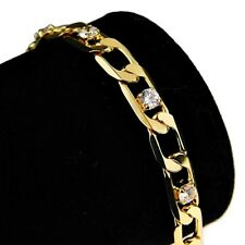 """Figaro Bling Bracelet Iced-Out Gold Finish Hip Hop Stone Link Chain 8"""" In  x 7MM"""