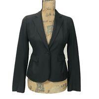 Ann Taylor LOFT 2 P Blazer Solid Black Suit Jacket 1 Button Lined Career Work XS