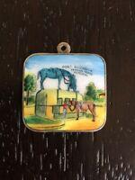 Vintage German Charm Enameled Silver 800 Or 835 Canada Port Elizabeth Horses