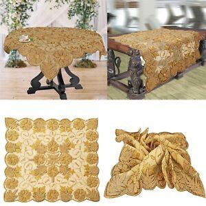 Sanskriti Hand Beaded Sequins Cream Table Cover Net Wall Hanging Home Decor Ooak
