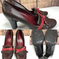 Womens TOMMY HILFIGER Brown & Red Leather Kiltie Pumps Heeled Shoes SIZE 10