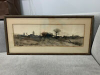 Antique Henry Mortikar Mortecai Rosenburg Listed Artist Landscape Etching Print