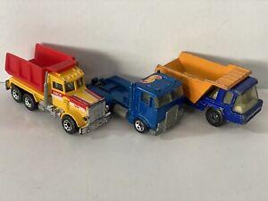 Hot Wheels Mack Truck, Matchbox Peterbilt Dump Superfast Dump Truck Vintage Lot