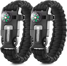 Emergency Paracord Bracelets | Set of 2| The Ultimate Tactical Survival Camping