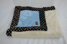Baby JaR Blanket HTF Lovey Security Plush Blue Brown Cream Minky Sherpa Dot Boy