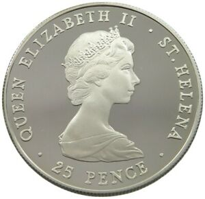ST. HELENA 25 PENCE 1980 SILVER PROOF  #alb32 191