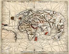 1513 World Map Waldseemuller Orbis Typus Universalis Wall Poster Vintage History
