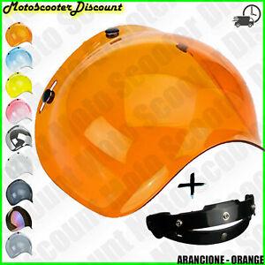 Visiere Bubble a Bulle Casque Jet 3 Boutons Vintage Universel Biltwell Orange