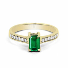 Emerald Solitaire with Accents Yellow Fine Rings