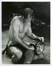 Ron Ely sitting on top of man in river from Tarzan tv series original photograph