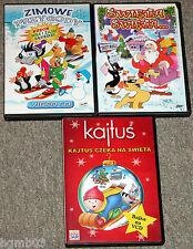 LOT OF 3 POLISH VCD MOVIE POLSKA BAJKA FILM KAJTUS, KRECIK, WILK I ZAJAC SWIETA