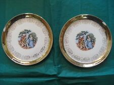 Crest O Gold Sabin Plates Gold Rim 22 K. Colonial Scene Vintage Hand Painted