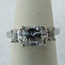 PRETTY ESTATE STERLING SILVER CUBIC ZIRCONIA WEDDING ENGAGEMENT RING BAND SIZE 5