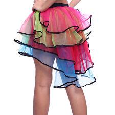 Rainbow Neon RaRa Rave Party Ballet Dance Ruffle Tiered Tutu Skirt Clubwear