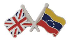 Venezuela 8 Stars Federal & United Kingdom Flag Friendship Pin Badge