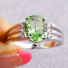 Oval Cut Green Amethyst & White Sapphire Gemstones Silver Jewelry Ring Size 6-11