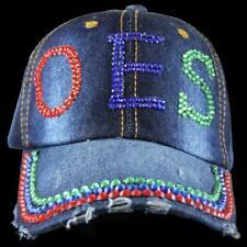 Masonic OES Apparel, OES Distressed Denim Hat Cap with Rhinestones