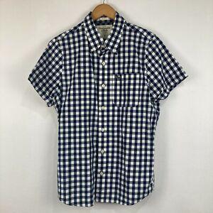 Abercrombie & Fitch Mens Button Up Shirt Size L Slim Blue Check Short Sleeve