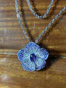 Swarovski  Crystal Flower Necklace with Blue Stone  - Sterling Silver 925