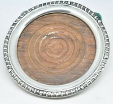Vintage Sterling Silver and Mahogany Art Deco Wine coaster drinks coaster #P953