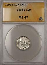 1938-D Silver Mercury Dime 10C Coin ANACS MS-67 (Near Full Split Bands 11)