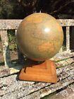 """Antique Philips 12"""" Terestrial Globe On Art Deco Style Oak Plinth"""