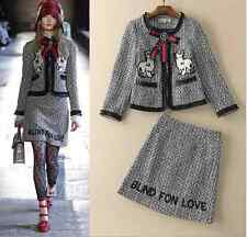 16 Occident runway fsahion embroidery skirt+woolen cloth coat stylish suit SMLXL