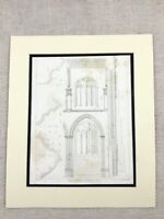 1826 Architectural Print St Mary's Church Oxford Pugin Gothic Engraving
